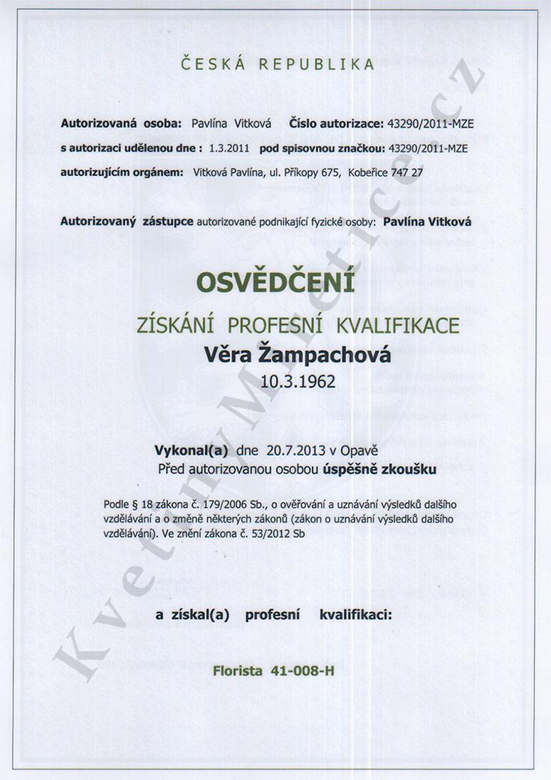 Certifikát Osvědčení o získání profesní kvalifikace 1