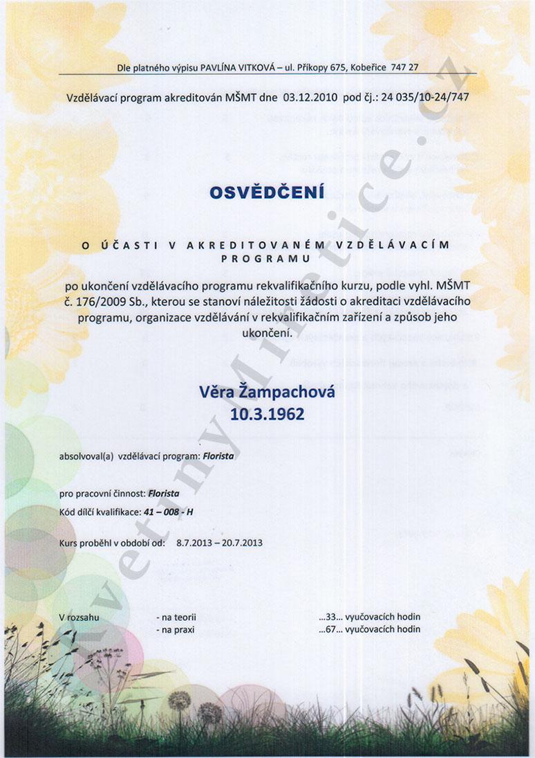 Certifikát Akreditovaný vzdělávací program 1