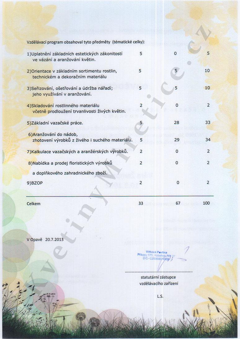 Certifikát Akreditovaný vzdělávací program 2